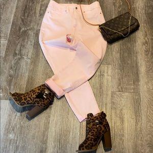 Good American Waist Crop Pink Jean